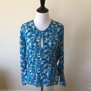 Tanya Taylor Blue Floral Peplum Top Size 8